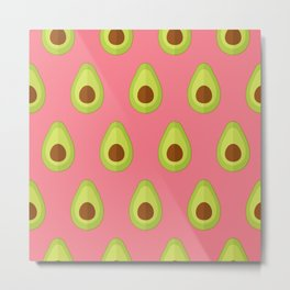 Avocados on pink Metal Print