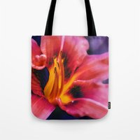 lily Tote Bags featuring  Lily. by Mary Berg