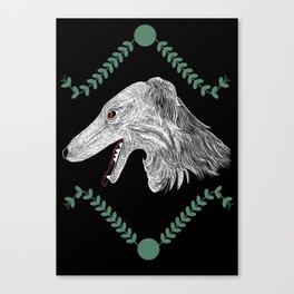 Borzoi head Colour Canvas Print