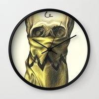 charlie brown Wall Clocks featuring You're A Bad Man, Charlie Brown by Carl Floyd Medley III