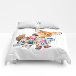 A child deer and squirrel at the summer festival Comforters