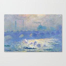 Waterloo Bridge, Sunlight Effect by Claude Monet Canvas Print