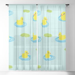 Rubber Ducks Pattern Sheer Curtain