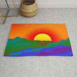 Gay Pride Rainbow Sunrise Landscape Design Rug