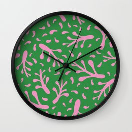 Branches and leaves - green and pink colors Wall Clock