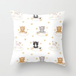 Cat Kitten Baby Girl Nursery Room Decor Throw Pillow