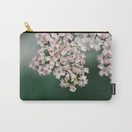 Blush Pink Flowers on Emerald Green Carry-All Pouch