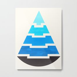 Cerulean Blue Gouache Painting Aztec Minimalist Abstract Geometric Pattern Pyramid Metal Print