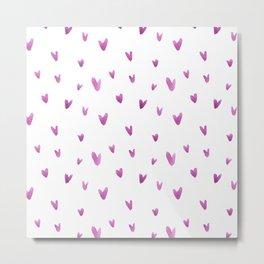 Pink hand painted watercolor romantic hearts pattern Metal Print