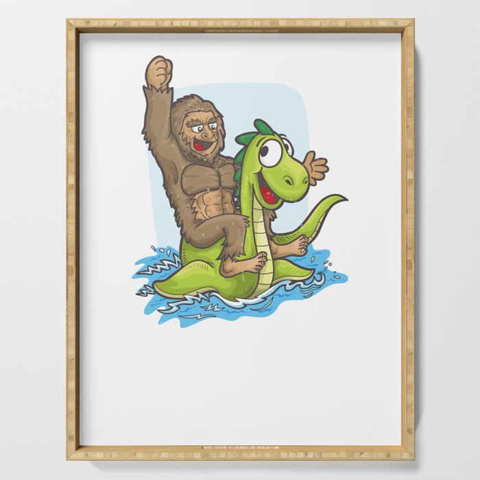 Bigfoot Riding Nessie Big Foot and Loch Ness Monster Serving Tray