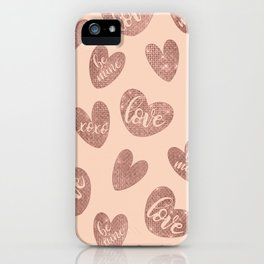 Love XOXO Be Mine Rose Gold Pink Glitter Hearts iPhone Case