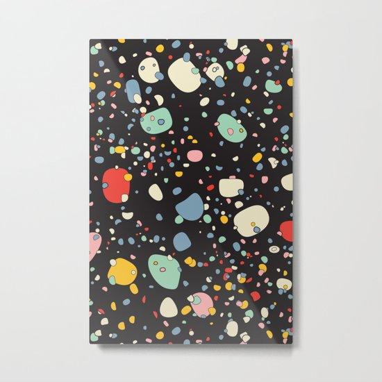 Modern Scandinavian Multi Colour Color Pebbles Black Metal Print