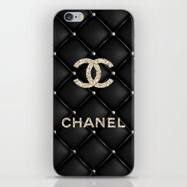 Glitter COCO Quilted Leather iPhone Skin