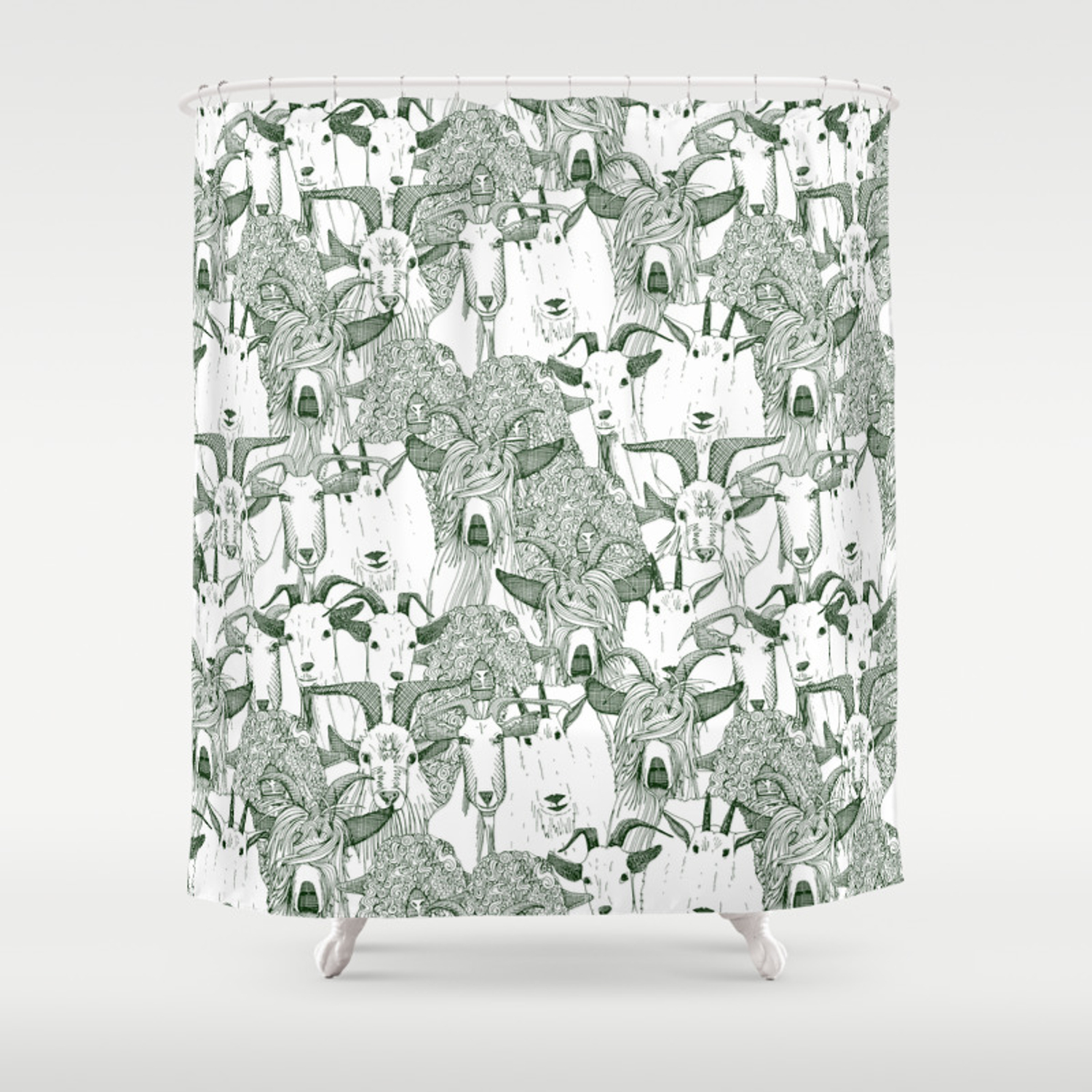 Just Goats Dark Green Shower Curtain