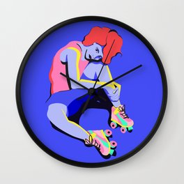 Woman with Bent Knee ... and roller skates Wall Clock
