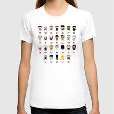 Horror Movies Alphabet MEDIUM Womens Fitted Tee White