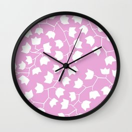 White ivy on pink Wall Clock