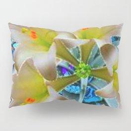 EASTER LILIES FLOWER  BLUE-GOLD FLORAL Pillow Sham