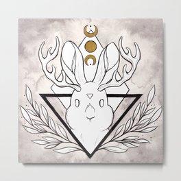 Lunar Rabbit / Jackalope Metal Print