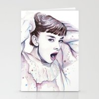 hepburn Stationery Cards featuring Audrey Hepburn Watercolor by Olechka