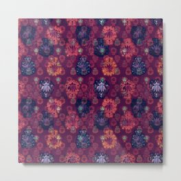 Lotus flower - fire on mulberry woodblock print style pattern Metal Print