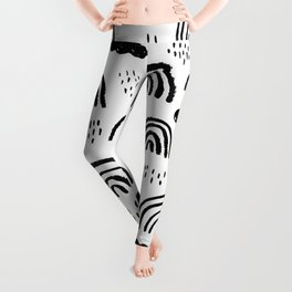 Black and white rainbow clouds Leggings