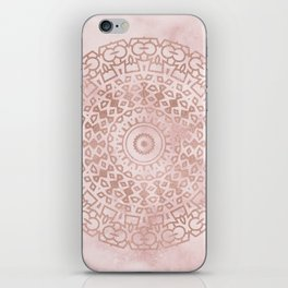Misty pink marble rose gold mandala iPhone Skin