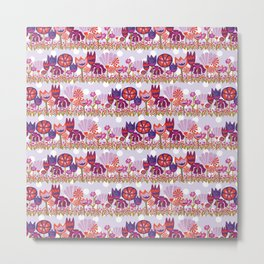 Tulips, Lily flowers, and Dianthus flowers in a row on a purple and white polka dot background Metal Print