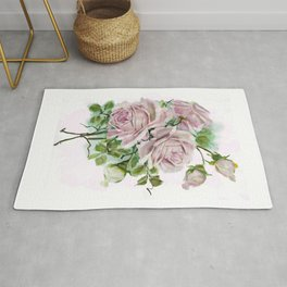 """Serenity"" Pink Rose Bouquet Watercolor Painting  Rug"