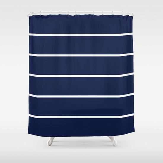 indigo navy blue pinstripes shower curtain by beautiful