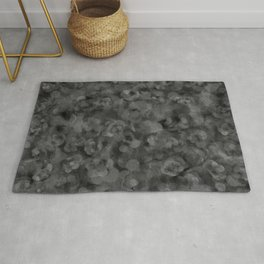 Dark Charcoal Gray and Light Grey Abstract Rug