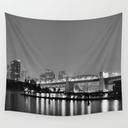 Vancouver in the Haze BW Wall Tapestry