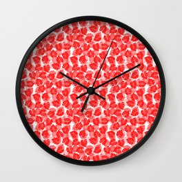 Big Monstera Tropical Leaf Hawaii Rain Forest Red on White Wall Clock