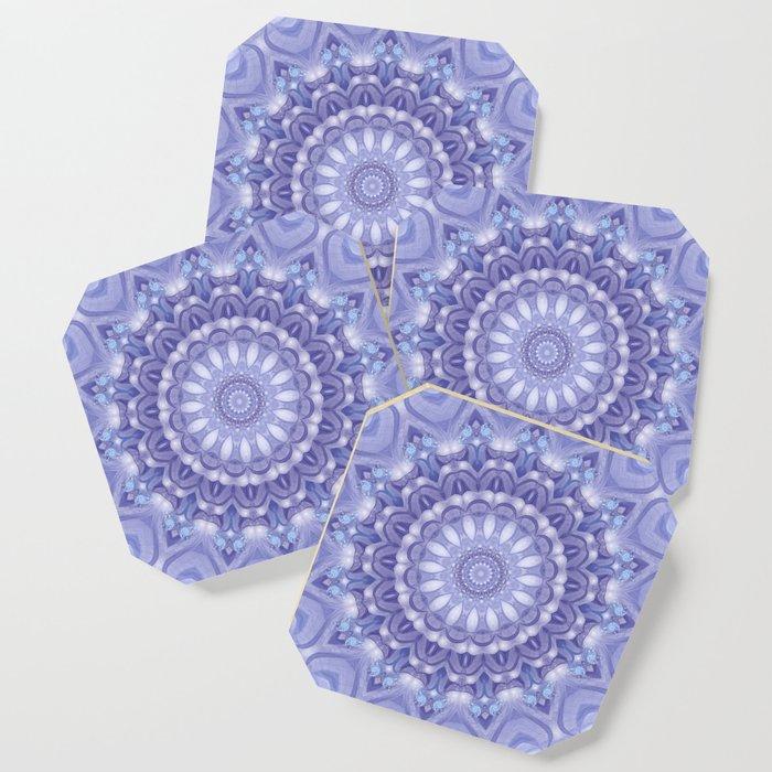 Light Blue, Lavender & and White Mandala 02 Coaster