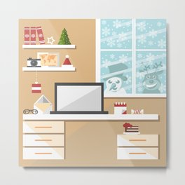 Christmas office interior with snowman and reindeer peeking through the window Metal Print
