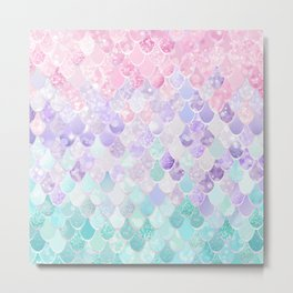 Cute Mermaid Pattern, Light Pink, Purple, Teal Metal Print
