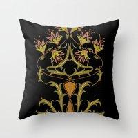 art nouveau Throw Pillows featuring art nouveau by Ariadne