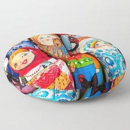 Culture. Group of matrioska, or babushka, symbol of maternity from Russia. Floor Pillow
