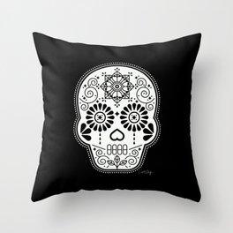 Día de Muertos Calavera • Mexican Sugar Skull – White on Black Throw Pillow