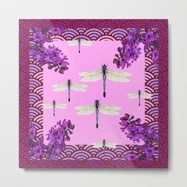 SPRING DRAGONFLIES PURPLE-PINK FLOWERS GARDEN ART Metal Print