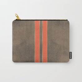 Vintage Hipster Retro Design - Brown Leather with Gold and Orange Stripes Carry-All Pouch
