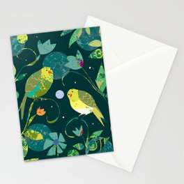 Pea Green Birds on Dark Teal Background Stationery Cards