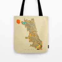 chicago map Tote Bags featuring Chicago by Nicksman