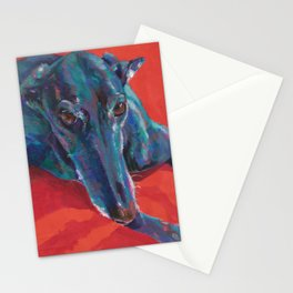 Greyhound on Red Stationery Cards