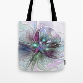 Colorful Fantasy Abstract Modern Fractal Flower Tote Bag