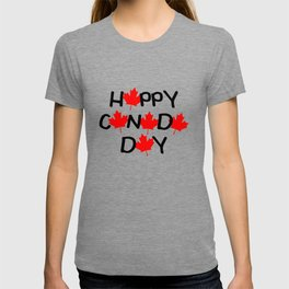 Happy Canada Day Maple Leaf Letters  T-shirt