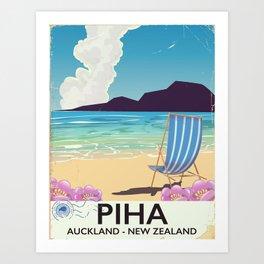 Piha New Zealand vacation poster Art Print