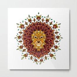 Lion Mandala in Colour Metal Print