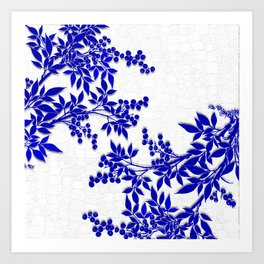 BLUE AND WHITE  TOILE LEAF Kunstdrucke