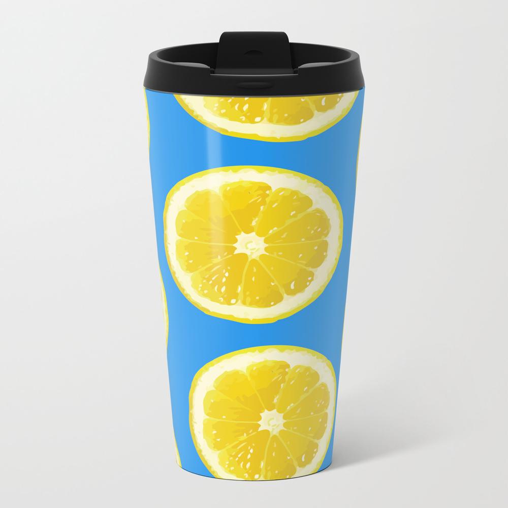 Lemon Pattern Fruit Metal Travel Mug by Madkitten MTM8071033